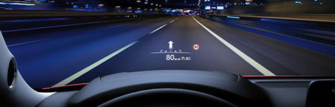 WINDSHIELD-PROJECTED COLOUR ACTIVE DRIVING DISPLAY